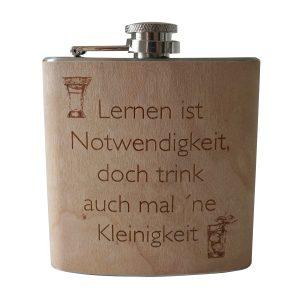gelaserter Flachmann mit Holzfurnier